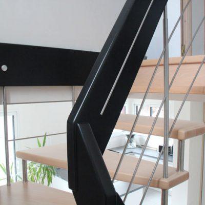 escalier suspendu - île Bailleron